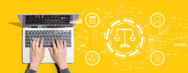 Legal advice service concept with person using a laptop computer Wall mural