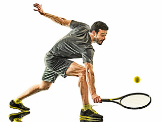 mature tennis player man forehand silhouette isolated white background