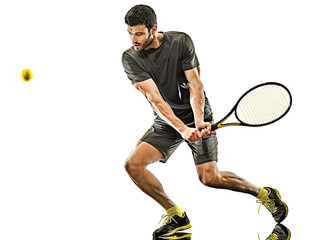 mature tennis player man backhand isolated white background