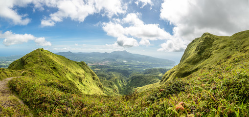 Mount Pelee green volcano hillside panorama, Martinique,  French overseas department Fototapete