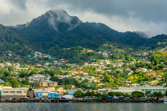 Coastline view with lots of living houses on the hill, Kingstown, Saint Vincent and the Grenadines