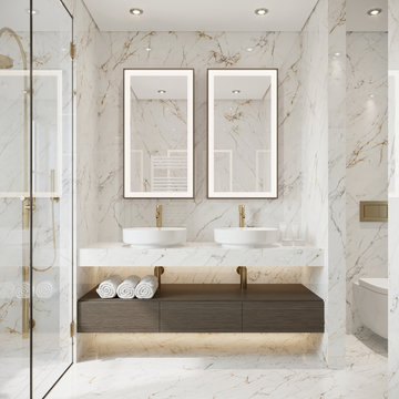 Modern bathroom with white marble and double sink