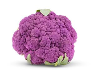 Purple cauliflower on white