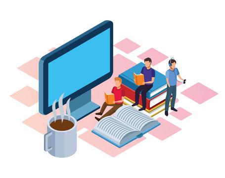 hot coffee mug, computer and people reading