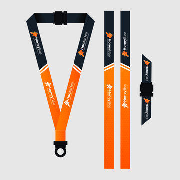 Orange lanyard template for honey bee company