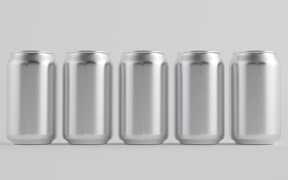 12 oz. / 350ml Aluminium Can Mockup - Multiple Cans.  3D Illustration
