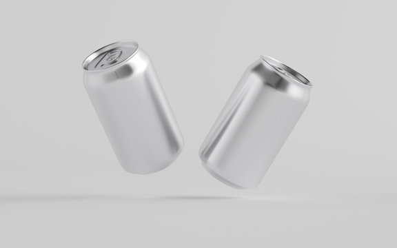 12 oz. / 350ml Aluminium Can Mockup - Two Floating Cans.  3D Illustration