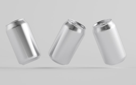 12 oz. / 350ml Aluminium Can Mockup - Three Floating Cans.  3D Illustration