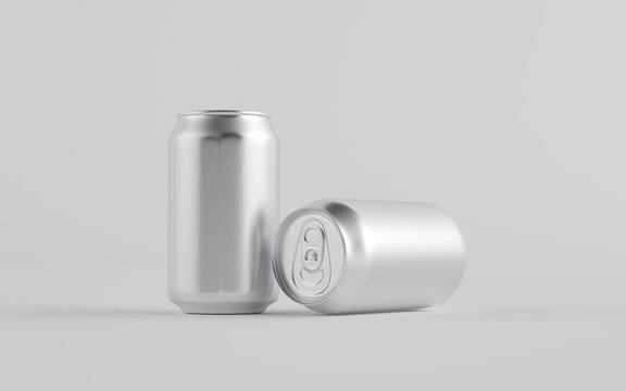 12 oz. / 350ml Aluminium Can Mockup - Two Cans.  3D Illustration