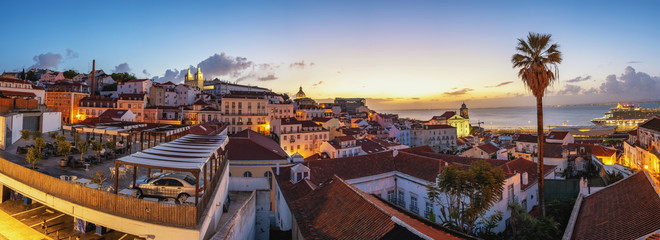 Lisbon Portugal sunrise panorama city skyline at Lisbon Alfama district Wall mural