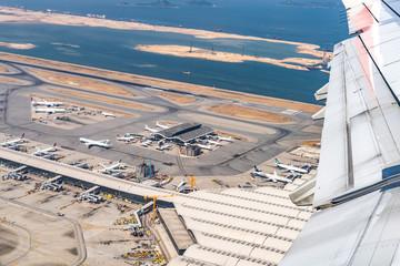 Lantau, Hong Kong  - November 16, 2019 :  Aerial view of Hong Kong  International Airport from airplane Fotomurales