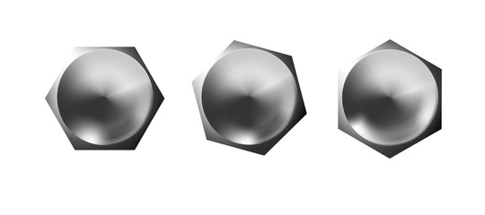 Metal bolt heads set, shiny caps. Twisted in surface isolated on white background. Macro chrome top view of wide a hats metalwares. Vector illustration.