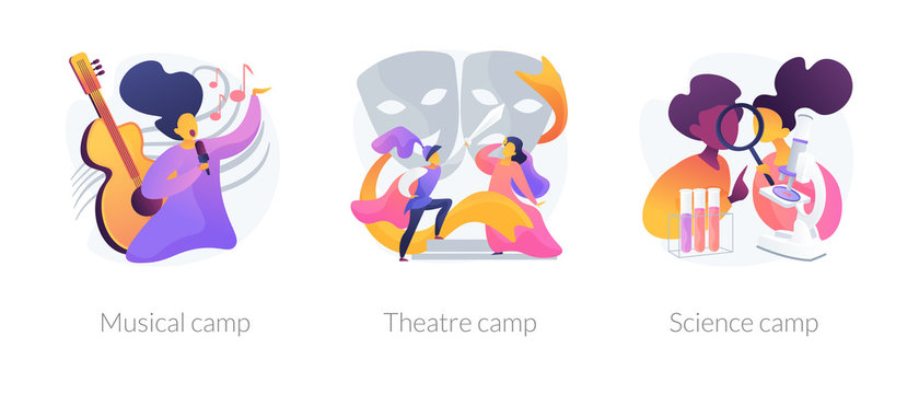 Artistic and scientific activities for children set. Musical, theatre science, camps metaphors. Developing creativity. Kids hobbies and entertainment. Vector isolated concept metaphor illustrations