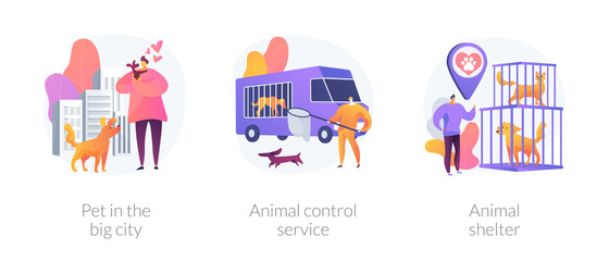 Municipal stray dogs control service. Homeless animals adoption center. Pet in the big city, animal control service, animal shelter metaphors. Vector isolated concept metaphor illustrations