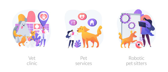 Wall Mural - Veterinary hospital services and domestic animals hotels. Dogs grooming and health check center. Vet clinic, pet services, robotic pet sitters metaphors. Vector isolated concept metaphor illustrations