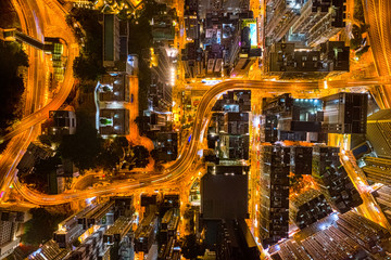 Fotomurales - Aerial view of city at night with Light Track