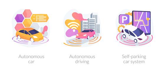 Wall Mural - Futuristic driverless automobiles. Smart vehicles digital software. Autonomous car, autonomous driving, self-parking car system metaphors. Vector isolated concept metaphor illustrations