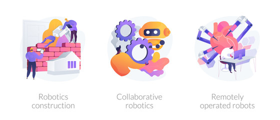 Wall Mural - Smart industry development. Artificial intelligence in surgery. Robotics construction, collaborative robotics, remotely operated robots metaphors. Vector isolated concept metaphor illustrations