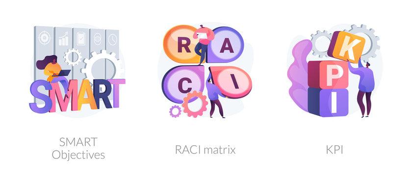 Goal setting strategy. Decision making responsibility factors. Key performance indicators SMART Objectives, RACI matrix, KPI metaphors. Vector isolated concept metaphor illustrations