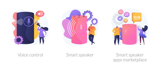 Wall Mural - Voice command device application, virtual assistant technology. Voice control, smart speaker, smart speaker apps marketplace metaphors. Vector isolated concept metaphor illustrations.