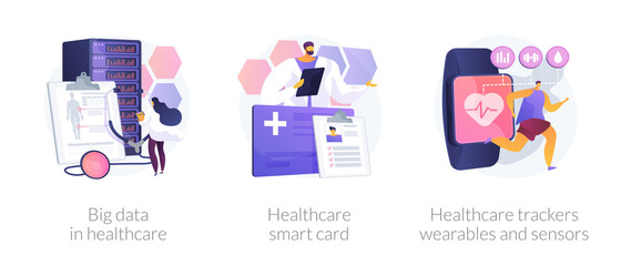 Wall Mural - Hospital database, clinic patients records server. Big data in healthcare, healthcare smart card, healthcare trackers wearables and sensors metaphors. Vector isolated concept metaphor illustrations