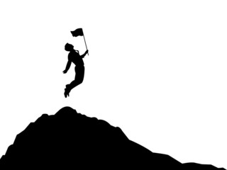 Silhouette of Business man jumping and flag on top mountain. Business, success, leadership, achievement and people concept. Vector illustration EPS 10. Fotobehang