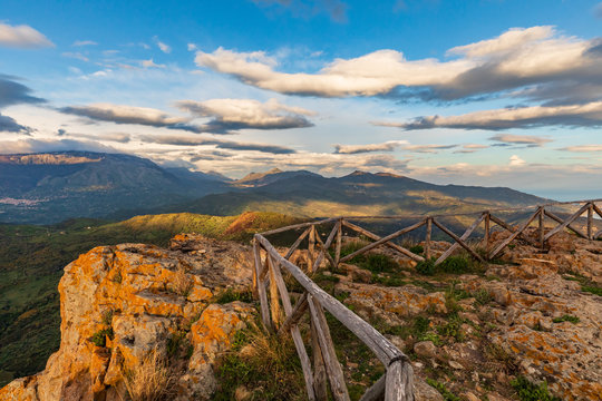 Italy, Sicily, Palermo Province, Pollina. View of the Madonie mountain range and Madonie Regional Natural Park, part of the UNESCO Global Geoparks Network.