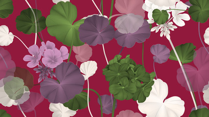Floral seamless pattern, Pelargonium zonale flowers with leaves on dark red, purple, green and white tones