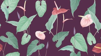 Floral seamless pattern, pink and red Anthurium flowers with leaves in blue tone on dark pink