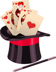 Foto op Textielframe Sprookjeswereld Play Card in Top Hat Magic Trick
