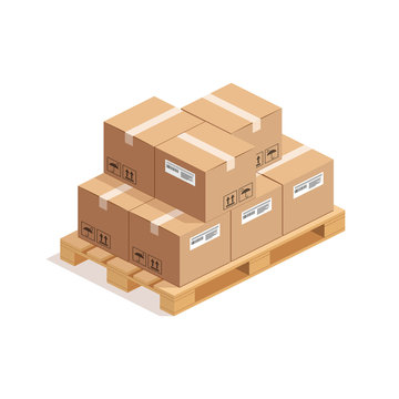 Isometric wooden pallet with big stack of cardboard boxes isolated on whte background. 3D warehouse packaging, storage and transportation concept. Vector illustration