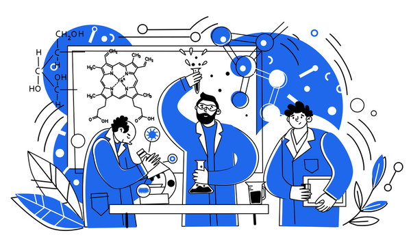 Scientists work in the laboratory. People in medical coats, chemical experts with laboratory equipment. Vector characters of male medical researchers.