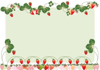 いちごの葉と花カラフルなイチゴイラストのメッセージボード背景素材