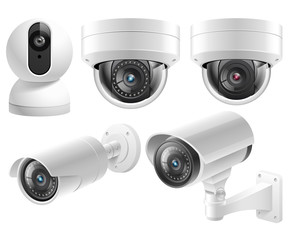 Home security cameras video surveillance systems isolated vector illustration.
