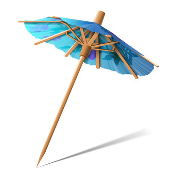 A small umbrella for decorating desserts on a white background. Highly realistic illustration. Highly realistic illustration.