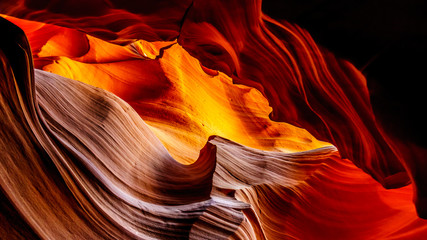 Foto auf Leinwand Arizona The smooth curved Red Navajo Sandstone walls of the Upper Antelope Canyon, one of the famous Slot Canyons in the Navajo lands near Page Arizona, United States