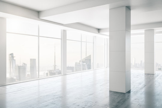 Empty white loft interior with columns and large windows, real estate concept. 3D Rendering