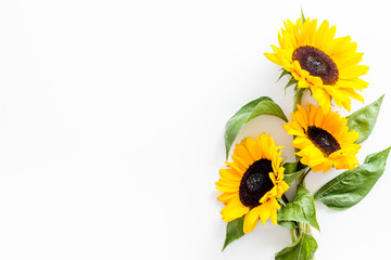 Tuinposter Zonnebloem Bouquet of sunflowers on white background top-down copy space