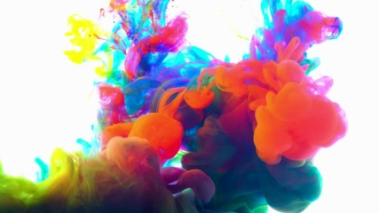 Fototapete - 4K , Color paint drops in water ,   Colorful ink in water, 4K footage,