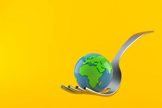 Fork with world globe