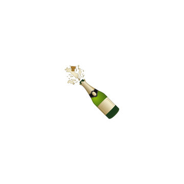 Champagne Vector Icon. Isolated Champagne Bottle Emoji, Emoticon Illustration. Bottle with Popping Cork.