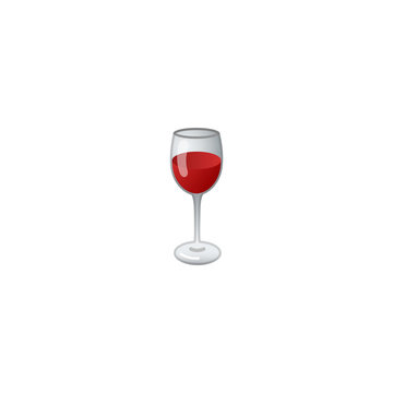 Wine Glass Vector Icon. Glass of Red Wine Isolated Emoji, Emoticon Illustration