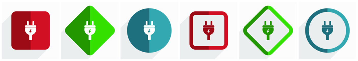 Eletricity, energy, power, plug icon set, flat design vector illustration in 6 options for webdesign and mobile applications in eps 10