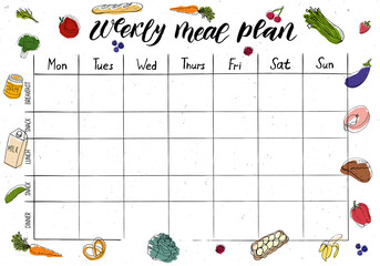 Cute A4 template for weekly and daily meal planner with lettering and doodle drawings of food. Papier Peint