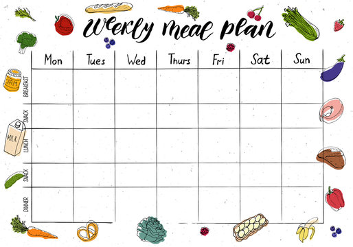 Cute A4 template for weekly and daily meal planner with lettering and doodle drawings of food.