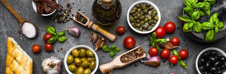 Fototapeta Mediterranean food ingredients or italian diet background