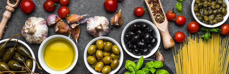 Mediterranean food ingredients or italian diet background Fotomurales