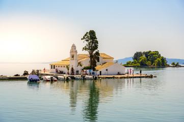 Fototapete - Vlacherna monastery in the port of Kanoni in Corfu island, beautiful landscape scenery, Ionian Sea, Greece.