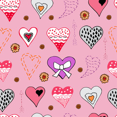 Seamless pattern with  hand drawn sketch of  hearts. Color objects isolated on pink background. Symbols for decorate card, banner or label. For Hand made work or Happy Valentine's Day