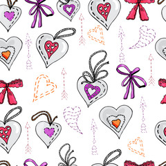 Seamless pattern with  hand drawn sketch of sewing  hearts, bows and arrows.  Color objects isolated on white background. Symbols for decorate card, banner or label. For Happy Valentine's Day